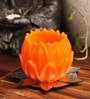 Candles N Beyond Flower Tray with Orange Lotus Hurricane Candle