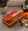 Fluke Design Company Goddess Laxmi Decoupage Orange Aluminium 7.1 x 3.9 x 2 Inch Keepsake Box