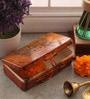 Fluke Design Company Lord Buddha Decoupage Orange Aluminium 7.1 x 3.9 x 2 Inch Keepsake Box