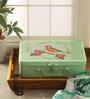 Fluke Design Company Green Aluminium Vintage Decoupage 11 x 7.5 x 3.5 Inch Keepsake Box