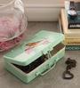 Fluke Design Company Vintage Bird Roses Decoupage Green Aluminium 7.1 x 3.9 x 2 Inch Keepsake Box