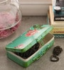 Fluke Design Company Vintage Rose Decoupage Green Aluminium 7.1 x 3.9 x 2 Inch Keepsake Box