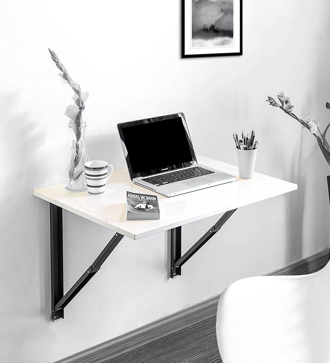 Buy Folding Wall Mounted Study Table Large In Glossy White Colour By Futurdecor Online Modern Writing Tables Tables Furniture Pepperfry Product