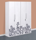 Four Door Wardrobe in White & Black Colour