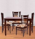 Four Seater Dining Set in Brown Polish