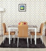 Four Seater Dining Set in Natural Wood Finish with Leatherette Chairs