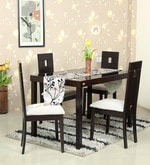 Tania Four Seater Dining Set with Glass Top & Wooden Base in Dark Brown Colour