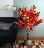 Red Polyester Artificial Queen Plant
