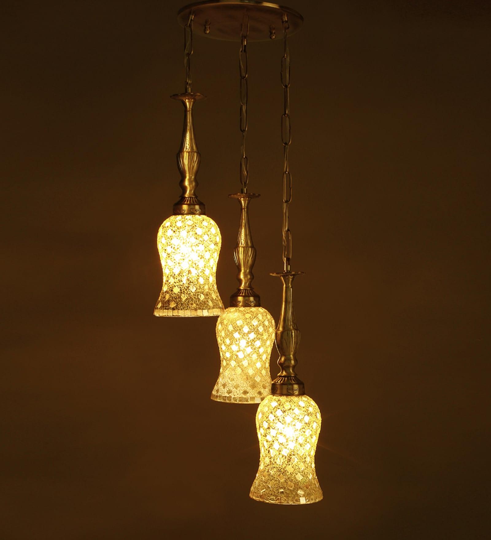 Antique Gold Brass & Glass Hanging Light by Fos Lighting