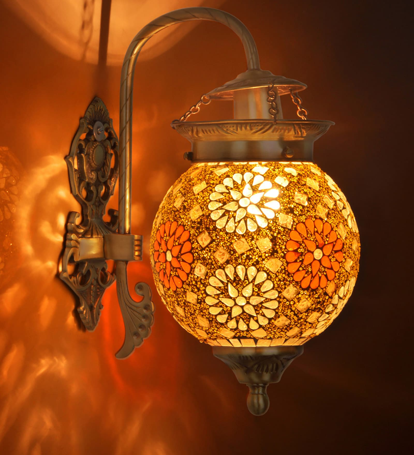 Antique Gold Brass and Glass Wall Light by Fos Lighting