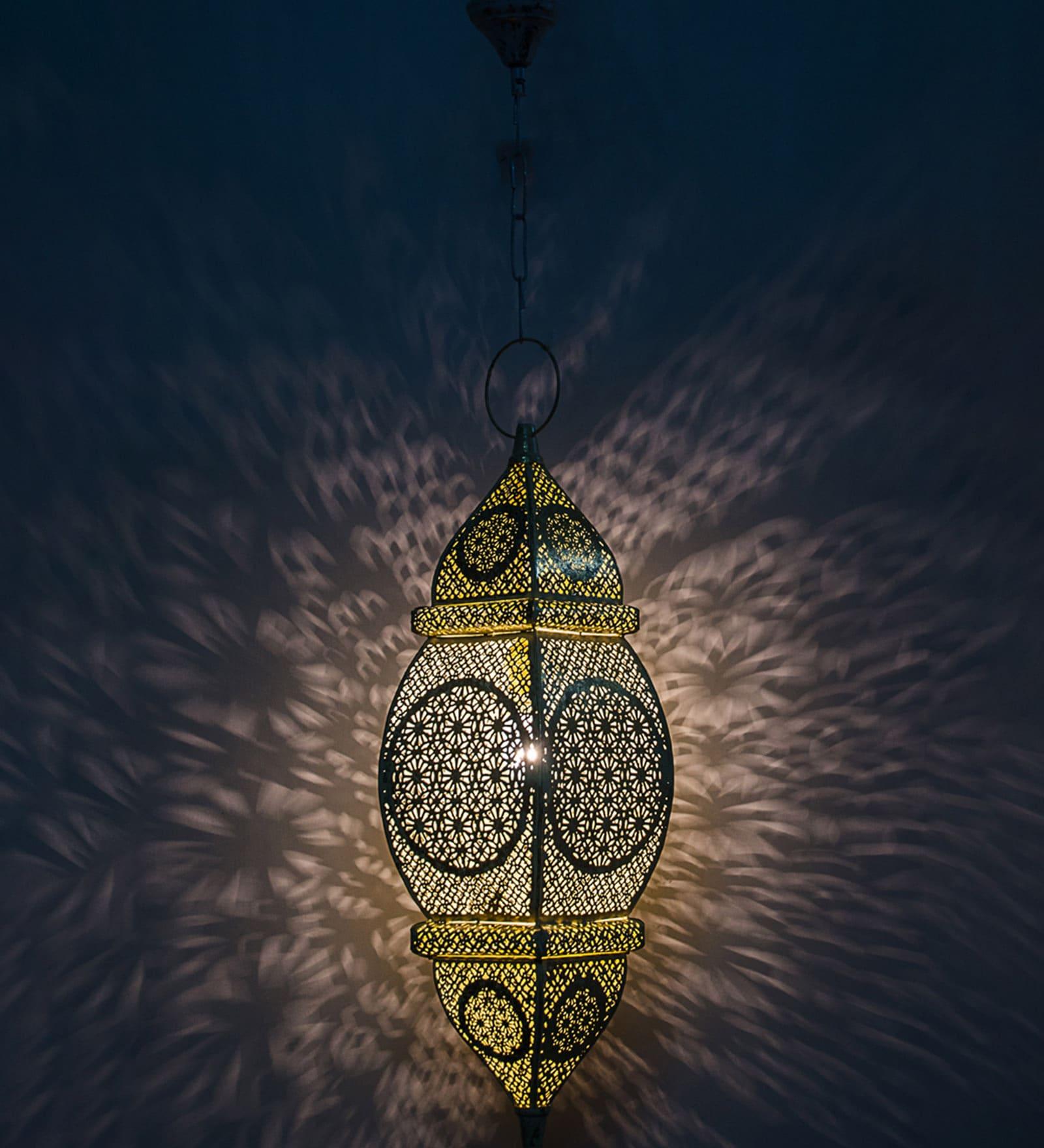 Orange & Gold Steel Hanging Light by Fos Lighting