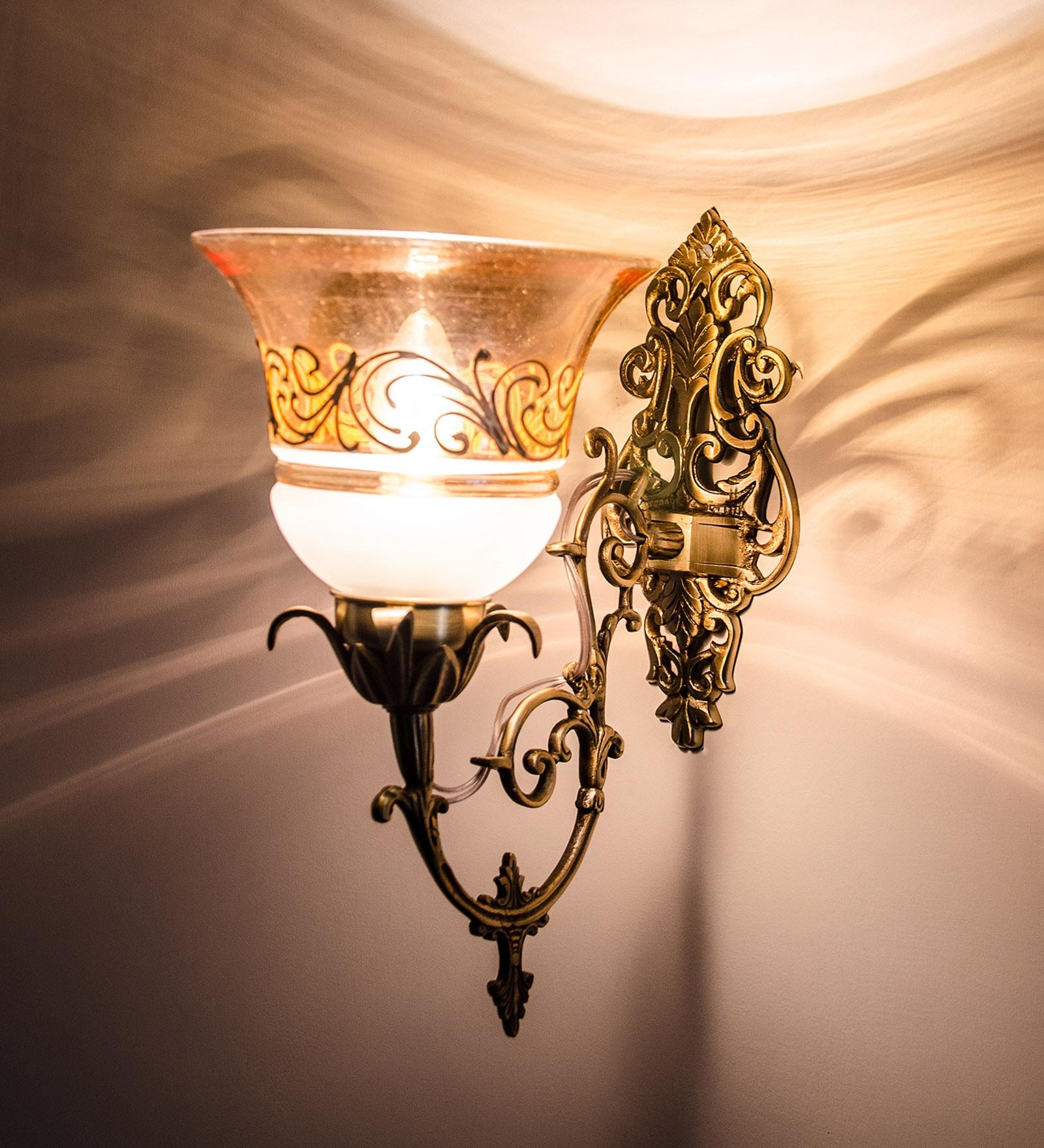 Fos Lighting White & Gold Glass Wall Light
