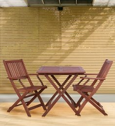 Foldable & Compact Two Seater Dining Set In Natural Brown Finish - 1672994