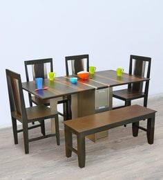 Foldable Six Seater Dining Set In Dark Brown Finish
