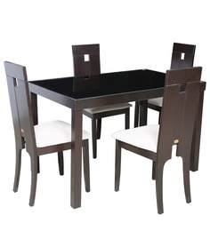 Four Seater Dining Set with Glass Top & Wooden Base in Dark Brown Colour by Parin at pepperfry