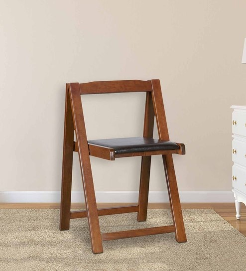 Foldable Compact Chairs (Set Of 2) In Black U0026 Walnut Finish By HomeTown