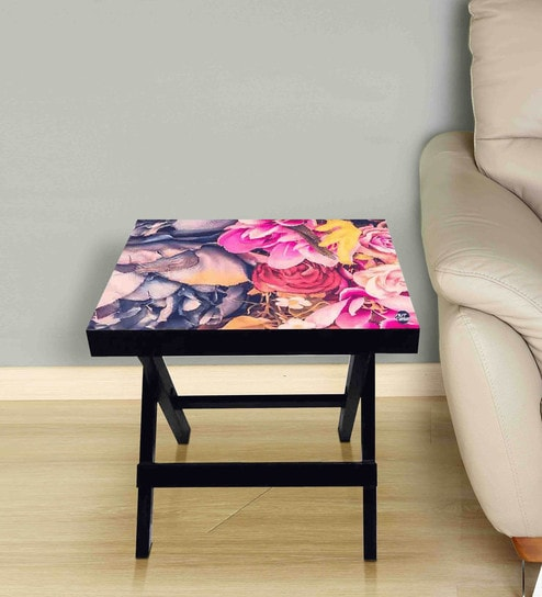 Colorful Rose Print Foldable Side Table with by Nutcase