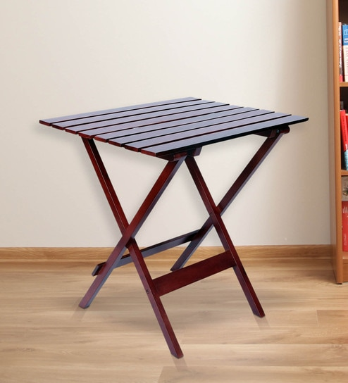 buy foldable table in large size in brown colour by clasicraft