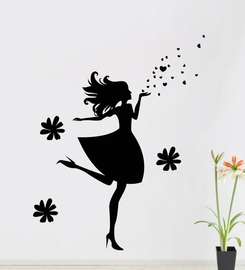 buy lovely girl wall sticker & decalstickeryard online - floral