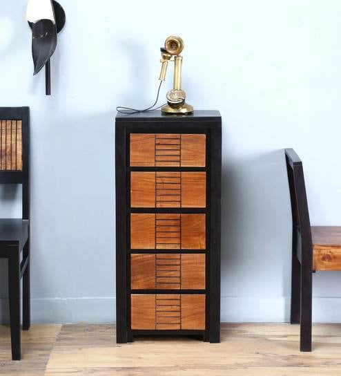 Forks Tall Chest Of Five Drawers In Dual Tone Finish By Woodsworth