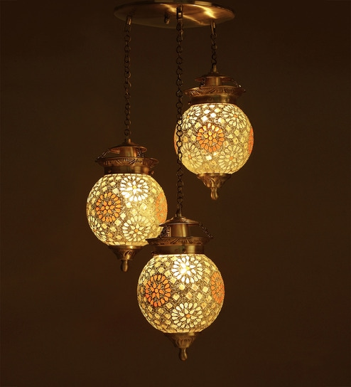 buy antique gold brass and glass hanging light by fos lighting