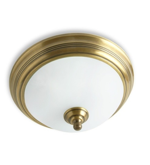 White Antique Br Flush Ceiling Light By Fos Lighting