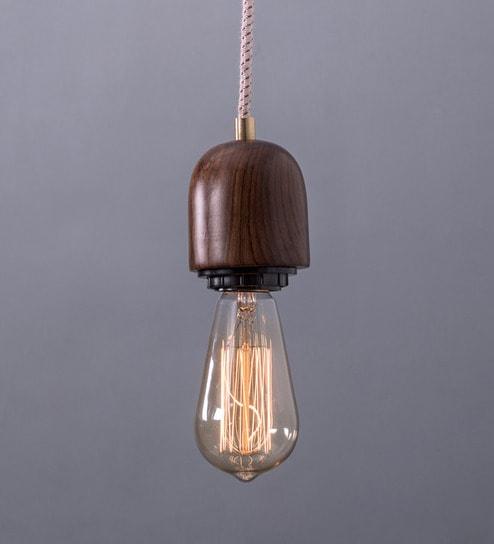Brown Wood Modern Wooden Single Hanging Lamp By Fos Lighting