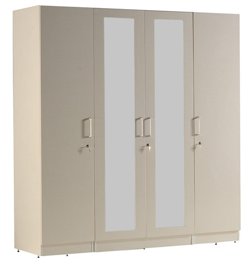 Four Door Carcass with 2 Plain and 2 Big Mirror Shutters with MR and Finish Laminate  sc 1 st  Pepperfry & Buy Four Door Carcass with 2 Plain and 2 Big Mirror Shutters with MR ...