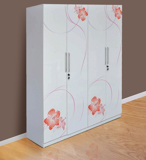 fresno four door wardrobe in white orange colour by parin - White Wardrobe