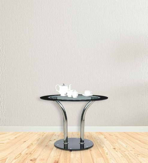 unusual round dining tables glass top four seater designer round dining table in black colour by parin buy
