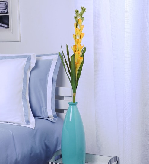Buy Yellow Polyethylene Artificial Tube Rose Flowers By Fourwalls
