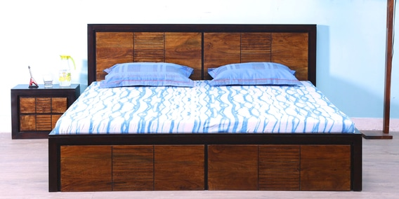 Forks Queen Bed With Storage In Dual Tone Finish By Woodsworth