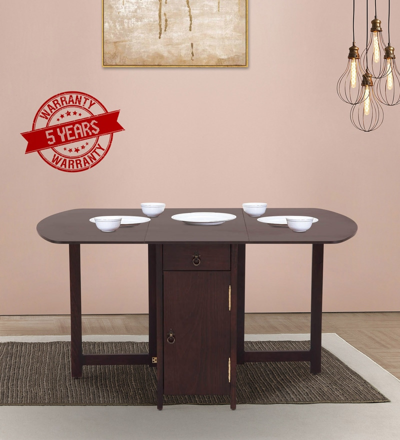 Buy Glass Top Teak Wood Four Seater Dining Table in Brown Polish by ...