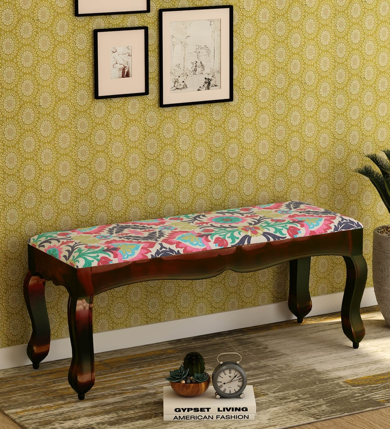 Buy Ford Solid Wood Bench With Colourful Upholstery By Bohemiana