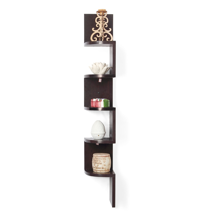 Buy Wenge Engineered Wood Vincent Corner Wall Shelf By Forzza Online