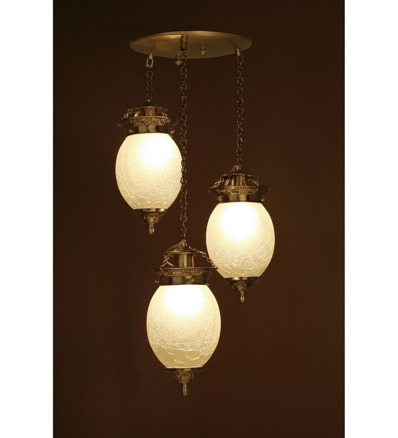 White & Silver Brass & Glass Pendant by Fos Lighting