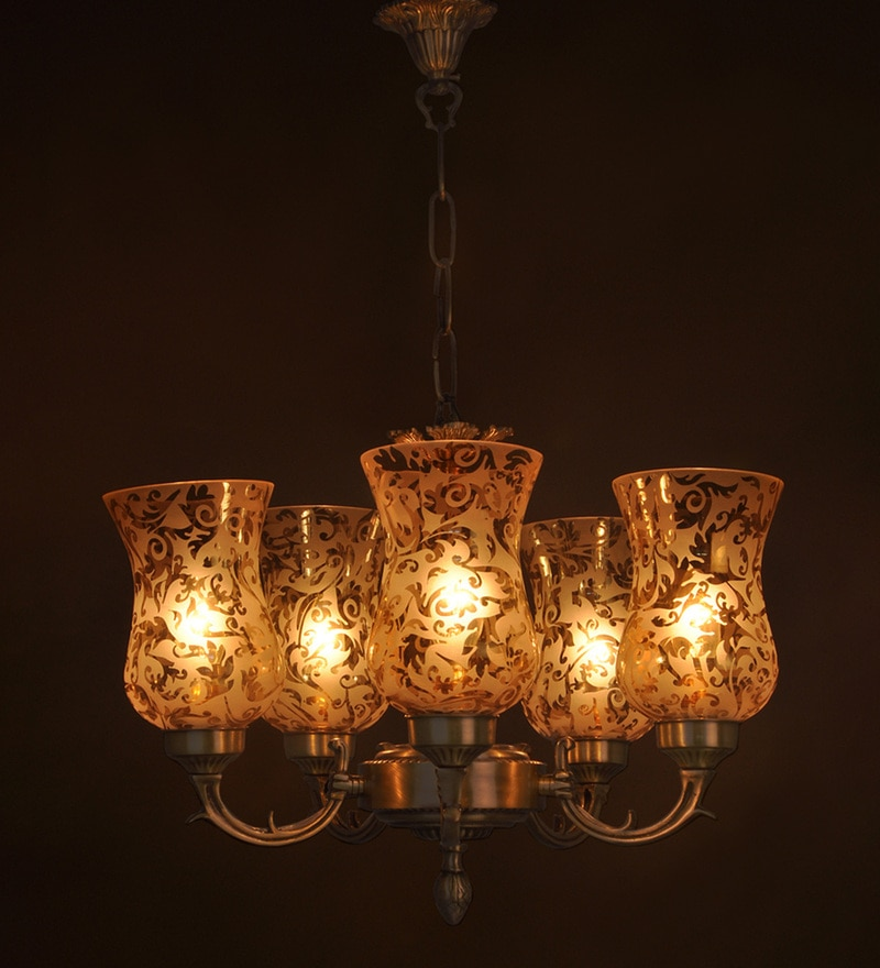 Antique Gold Brass & Glass Chandelier by Fos Lighting