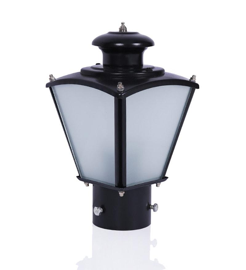 Fos Lighting Aluminum and Glass Black Outdoor Gate Light