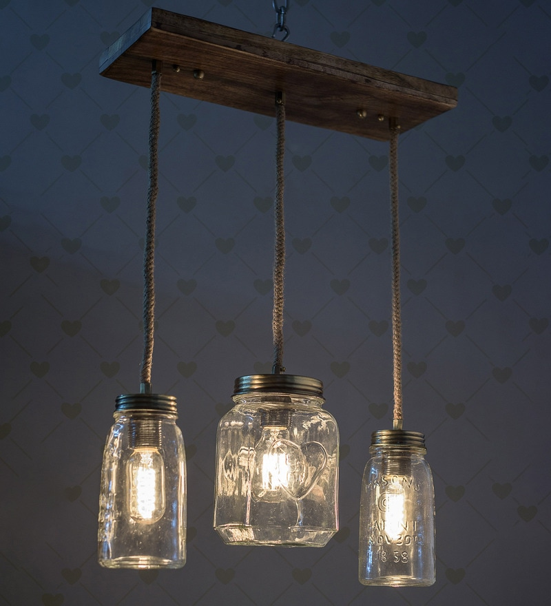 Brown Glass & Wood Mason Jar 3 Lights Chandelier by Fos Lighting