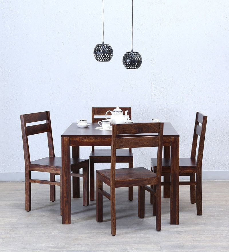 Enkel Four Seater Dining Set in Provincial Teak Finish by Woodsworth
