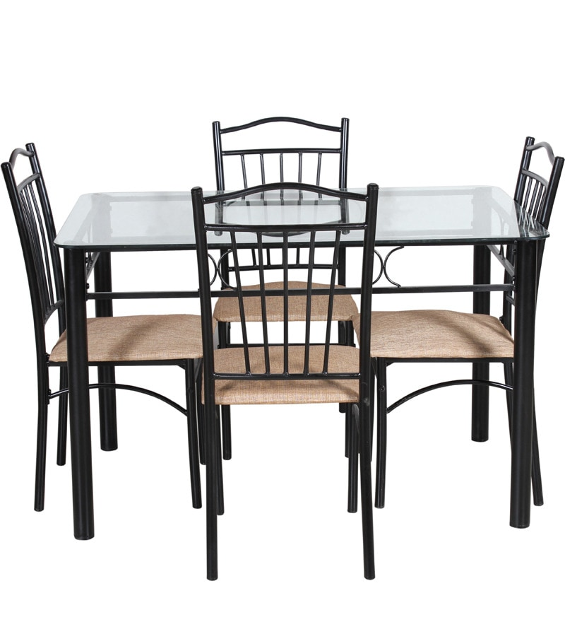 Buy Four Seater Dining Set W Glass Top Table In Espresso
