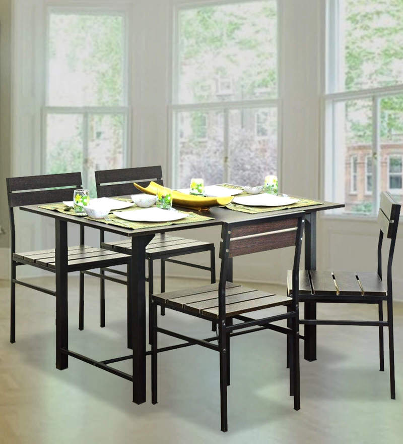 Buy Oslo Four Seater Dining Set with Wooden Top Table by FurnitureKraft Online  Four Seater