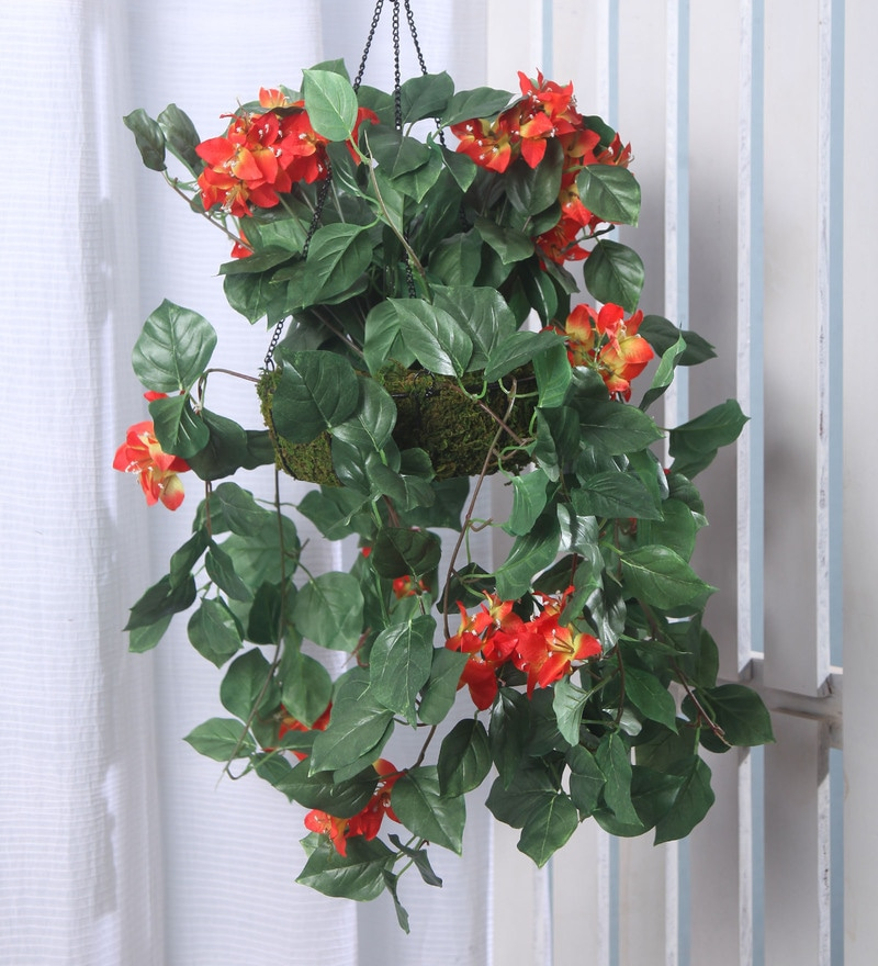 Orange Synthetic Tall Bougainvillea Hanging Basket Decorative Artificial Plant by Fourwalls