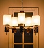 Brown and White Glass and Wood Chandelier by Fos Lighting