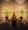 Green & Gold Glass Wall Light by Fos Lighting