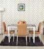 Four Seater Dining Set in Natural Wood Finish with Leatherette Chairs by Parin