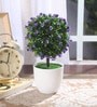 Fourwalls Blue Synthetic Miniature Table Top Artificial Topiary Plant with Vase