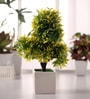 Fourwalls Green & Yellow Iniature Artificial Tree In Ceramic Vase