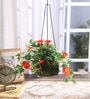 Orange Synthetic Tall Morning Glory Hanging Basket Decorative Artificial Plant by Fourwalls