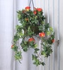 Fourwalls Orange Synthetic Tall Morning Glory Hanging Basket Decorative Artificial Plant